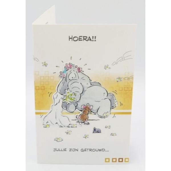 Adios wenskaart jullie zijn getrouwd.... met een muis die een olifant draagt