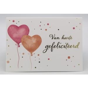 Adios wenskaart van harte gefeliciteerd met twee ballonnen in de vorm van een hart