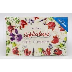 Adios wenskaart gefeliciteerd met jullie ...jarig huwelijk met draaischijf en de afbeeldingen rode tulpen