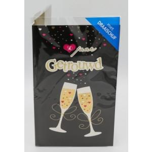 Adios wenskaart gefeliciteerd met jullie ...jarig huwelijk met draaischijf champagne