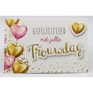 Adios wenskaart gefeliciteerd met jullie trouwdag met ballonnen in de vorm van hartjes