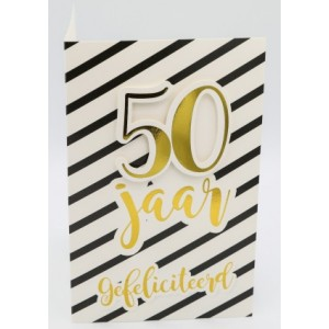 Adios wenskaart 50 jaar gefeliciteerd in gouden cijfers en letters