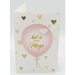Adios wenskaart het is een meisje roze ballon