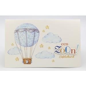 Adios wenskaart een zoon, gefeliciteerd blauwe luchtballon